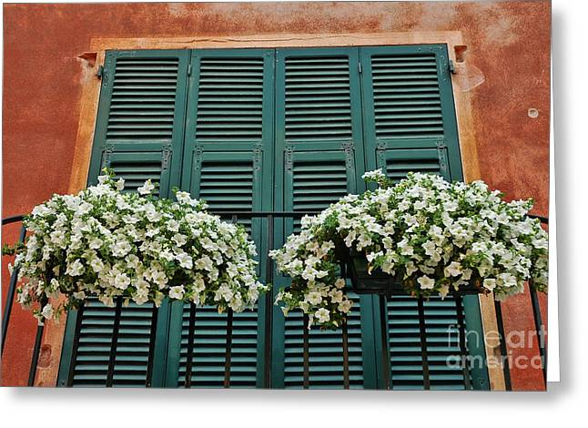 Greeting Card featuring the photograph Venice Flower Balcony 2 by Allen Beatty