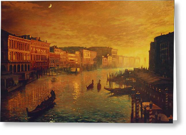 Venice From The Rialto Bridge Greeting Card by Blue Sky