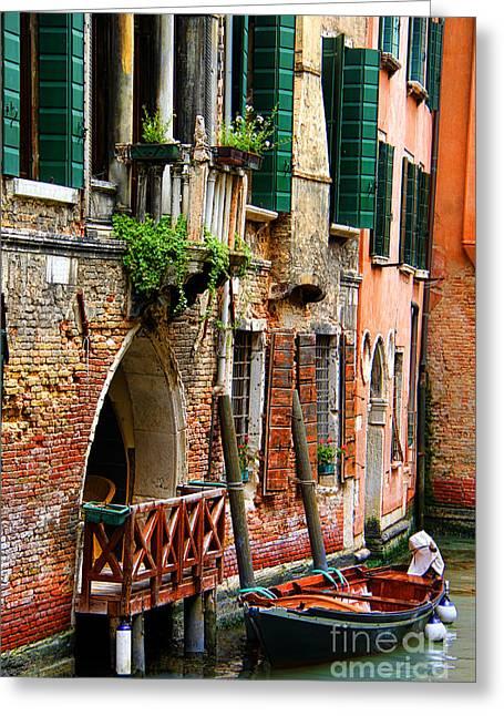 Venice Getaway Greeting Card by Mariola Bitner