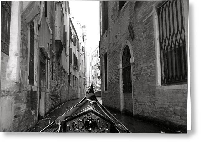 Venice Gondola Black And White Greeting Card by Teresa Tilley