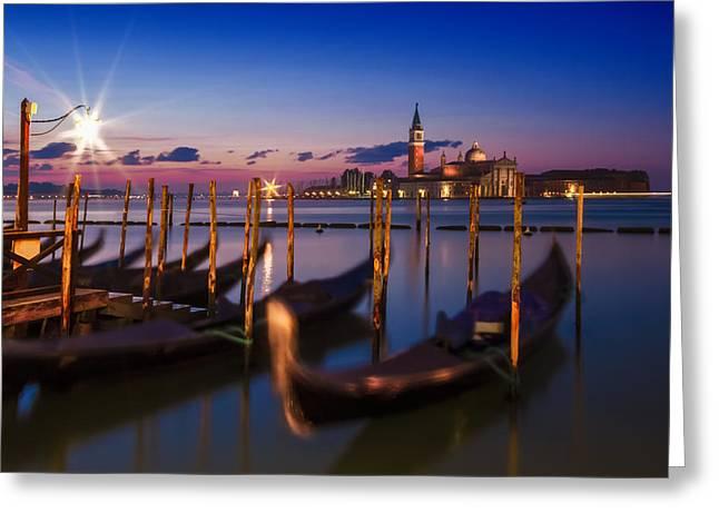 Venice Gondolas During Blue Hour Greeting Card by Melanie Viola