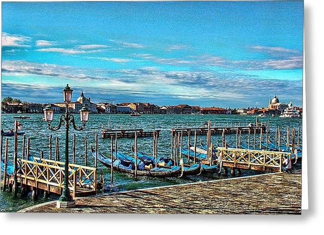 Greeting Card featuring the photograph Venice Gondolas On The Grand Canal by Kathy Churchman