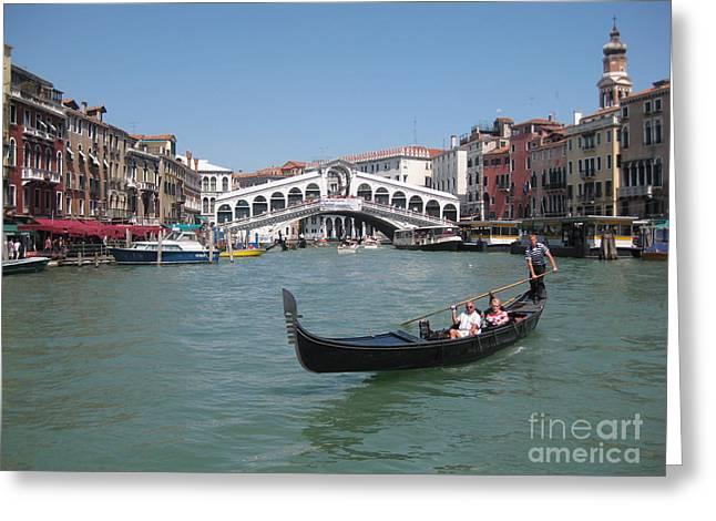 Venice Gondolier Greeting Card by John Malone