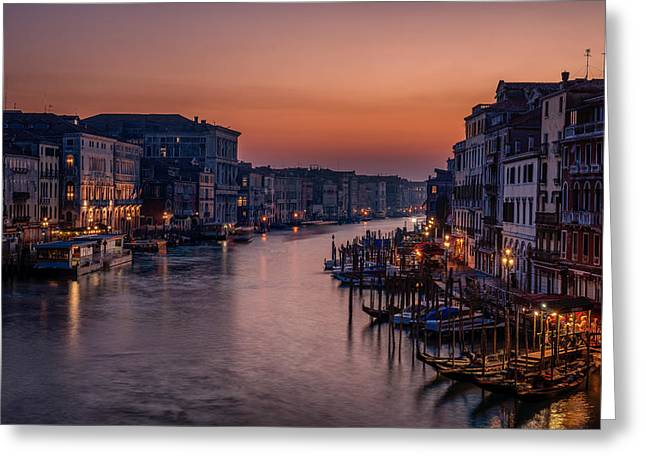 Venice Grand Canal At Sunset Greeting Card by Photography By Karen