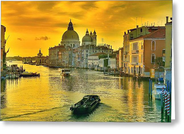 Golden Venice 3 Hdr - Italy Greeting Card