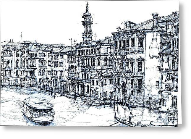Venice Ink In Blue Greeting Card by Adendorff Design