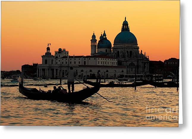 Venice Italy Gondola On Grand Canal At Sunset Greeting Card by Michal Bednarek