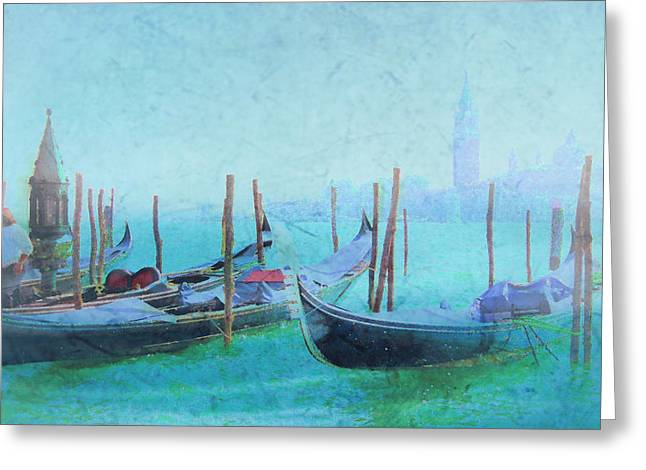 Venice Italy Gondolas With San Giorgio Maggiore Greeting Card