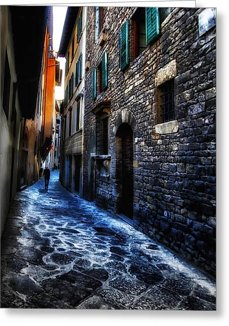 Venice Italy Silhouette - Lonely Walk Greeting Card