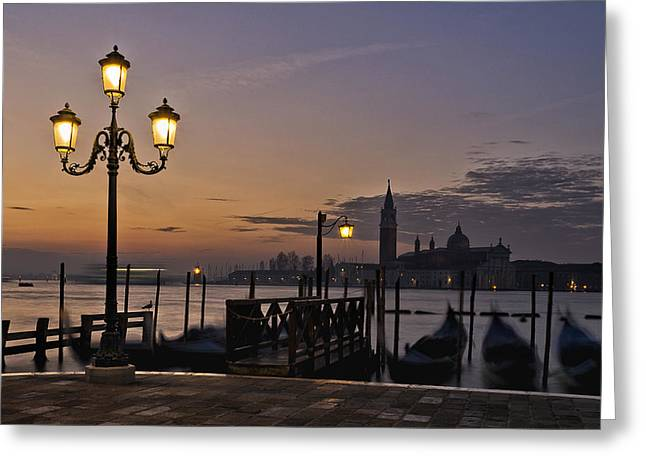Greeting Card featuring the photograph Venice Night Lights by Marion Galt