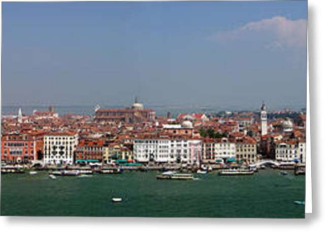 Greeting Card featuring the photograph Venice Panorama by Art Photography
