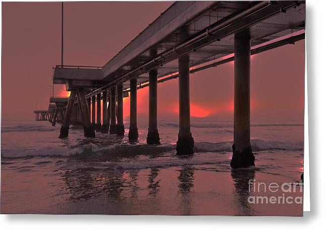 Venice Pier In Red Greeting Card