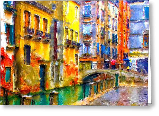 Venice Raining Greeting Card