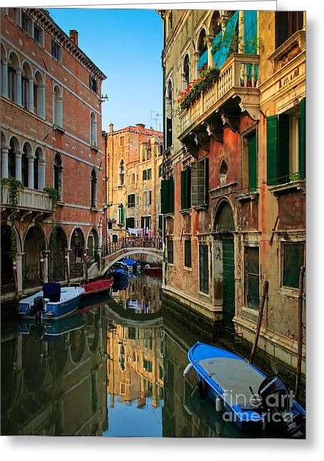 Venice Reflections Greeting Card by Inge Johnsson