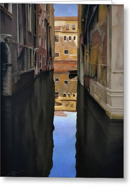 Venice Reflections - Pastel  Greeting Card by Ben Kotyuk