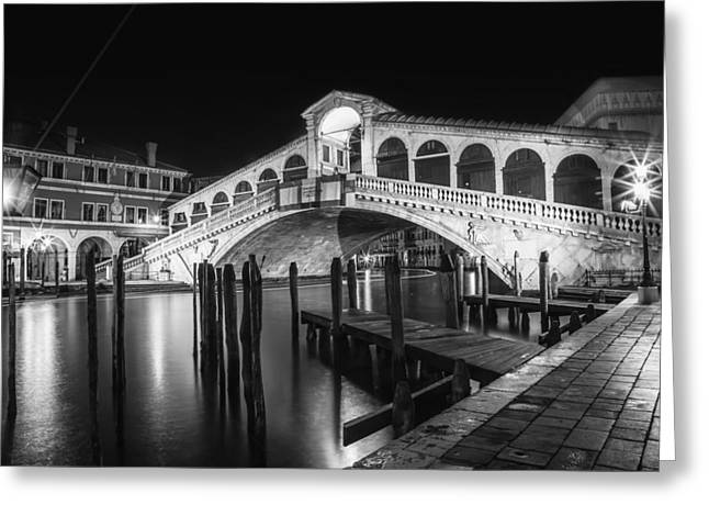 Venice Rialto Bridge At Night Black And White Greeting Card by Melanie Viola