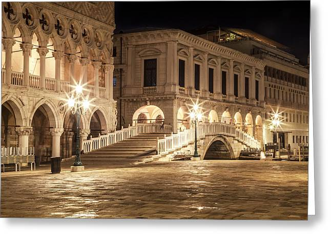 Venice Riva Degli Schiavoni At Night Greeting Card by Melanie Viola
