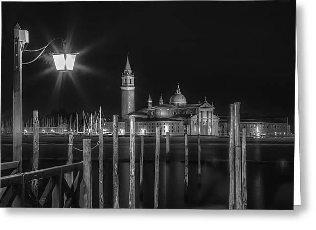 Venice San Giorgio Maggiore At Night Black And White Greeting Card