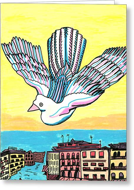 Greeting Card featuring the drawing Venice Seagull by Don Koester