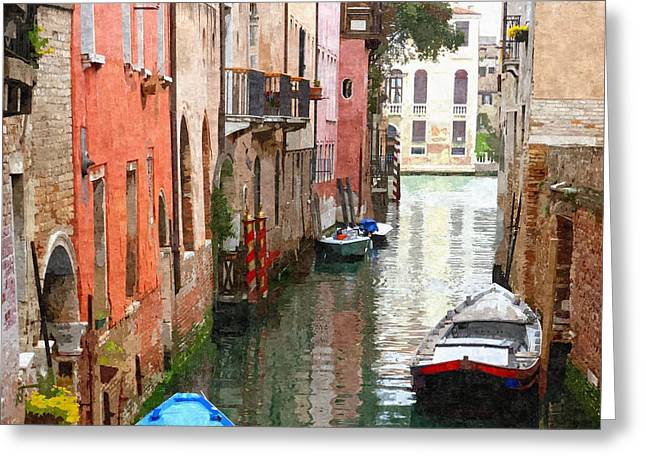 Venice Side Canal Greeting Card by Bishopston Fine Art