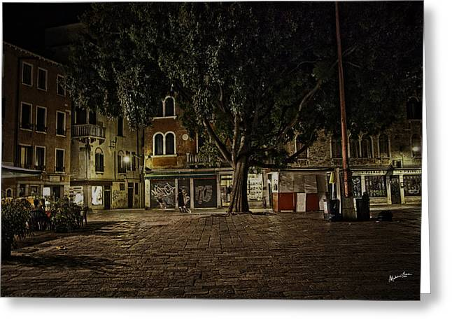 Venice Square At Night Greeting Card by Madeline Ellis