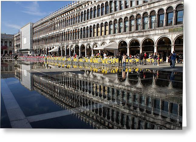 Venice Italy - St Mark's Square Symmetry Greeting Card by Georgia Mizuleva