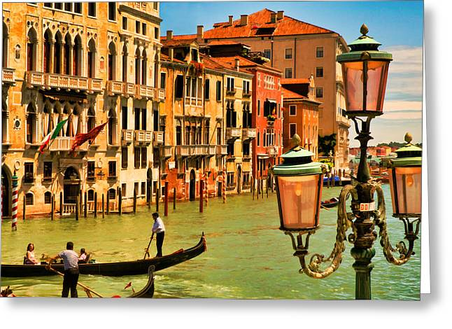 Venice Street Lamp Greeting Card by Mick Burkey
