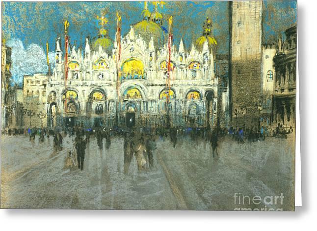 Venice Sunset - Basilica Di San Marco 1901 Greeting Card by Padre Art