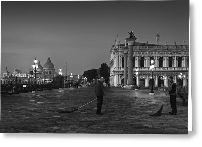Greeting Card featuring the photograph Venice Sweepers by Marion Galt