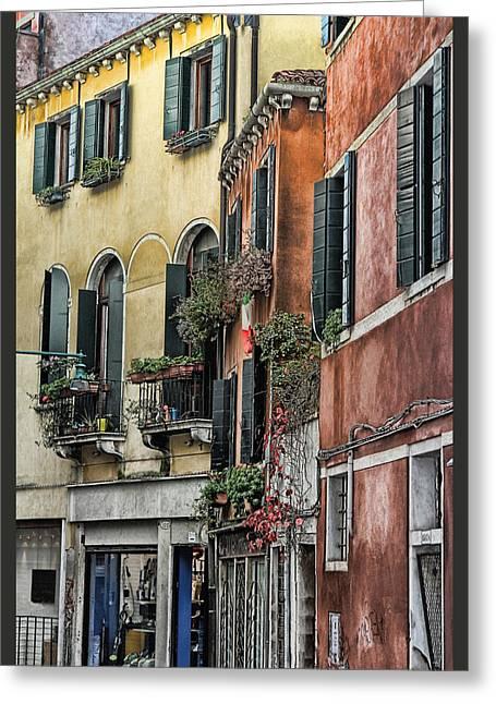 Windows In Venice  Greeting Card by Tom Prendergast