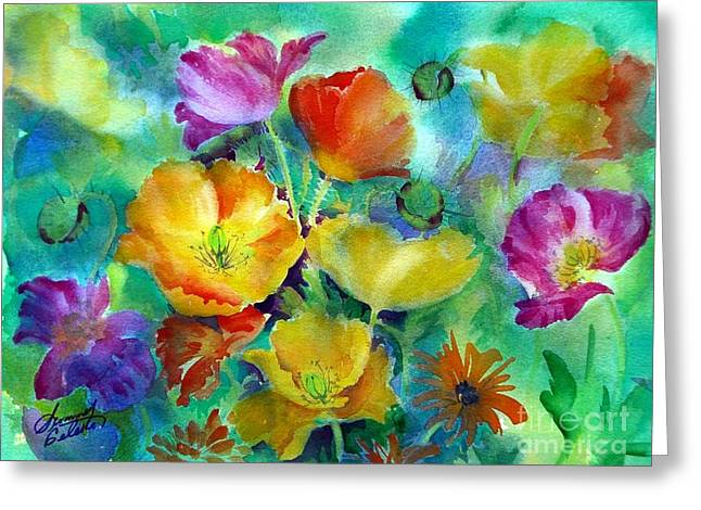 Ventana Poppies Greeting Card by Summer Celeste