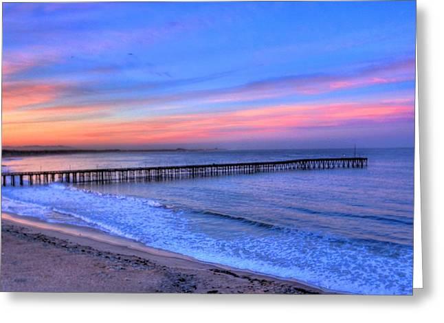 Ventura Beach Pier Greeting Card by Walt Miller