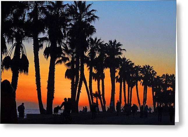 Ventura Boardwalk Silhouettes Greeting Card by Lynn Bauer