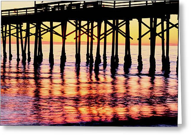 Ventura Pier At Sunset, Ventura Greeting Card by Panoramic Images