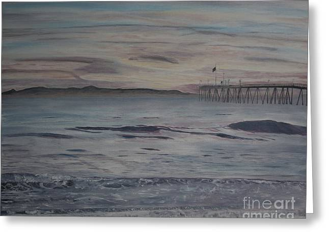 Ventura Pier High Surf Greeting Card by Ian Donley