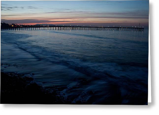 Ventura Pier Sunrise Greeting Card by John Daly