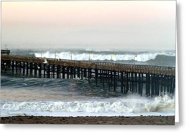 Ventura Storm Pier Greeting Card