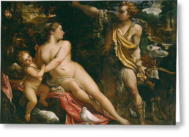 Venus Adonis And Cupid Greeting Card by Annibale  Carracci