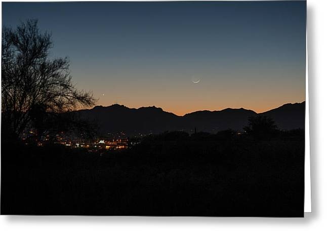 Greeting Card featuring the photograph Venus And A Young Moon Over Tucson by Dan McManus