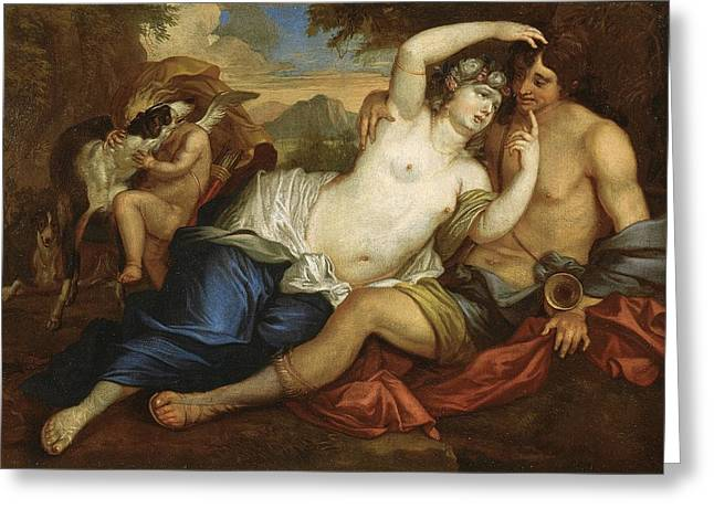 Venus And Adonis Greeting Card by Jan Boeckhorst