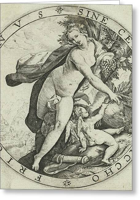 Venus And Cupid, Hendrick Goltzius Greeting Card