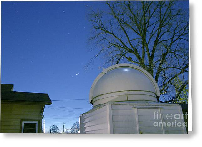 Venus And Jupiter In Conjunction Greeting Card by John Chumack