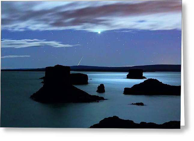 Venus And Meteor Over Reservoir Greeting Card