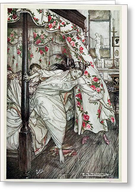Venus And The Cat, Illustration From Aesops Fables, Published By Heinemann, 1912 Colour Litho Greeting Card by Arthur Rackham