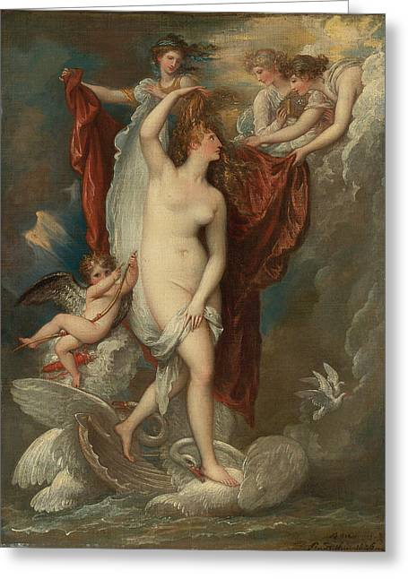 Venus At Her Birth Attired By The Three Graces Greeting Card