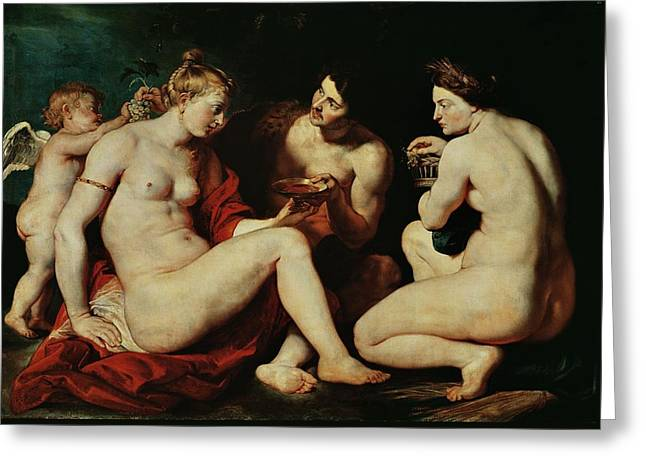 Venus, Cupid, Bacchus And Ceres Greeting Card by Peter Paul Rubens