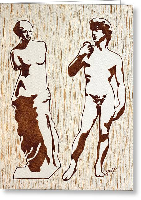 Venus De Milo And David Statues Original Dark Beer Painting Greeting Card by Georgeta Blanaru