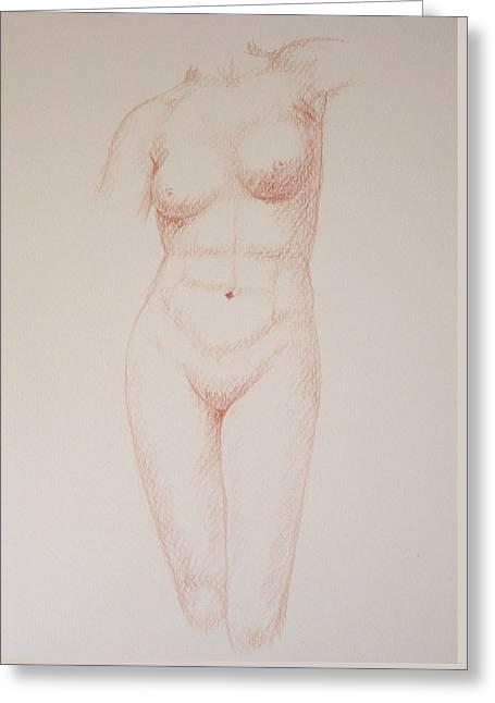 Female Torso #3 Greeting Card by Deborah Dendler