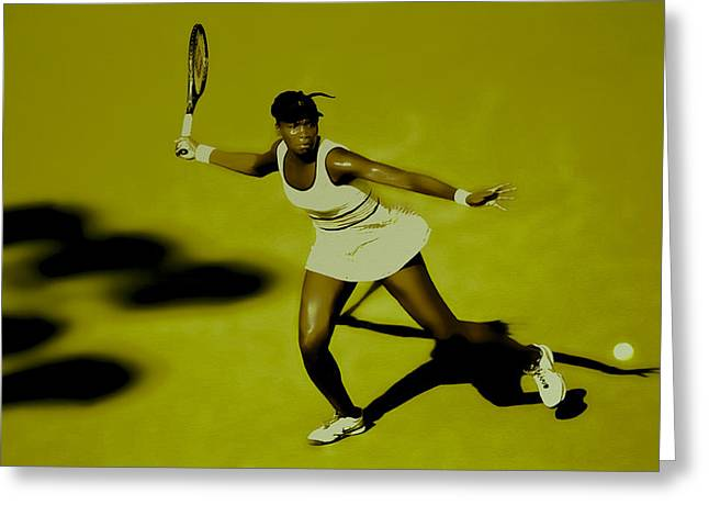 Venus Williams In Action Greeting Card by Brian Reaves