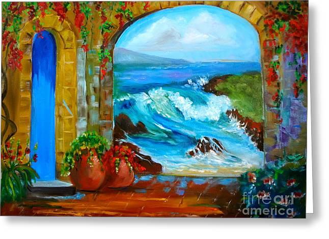 Veranda Ocean View Greeting Card